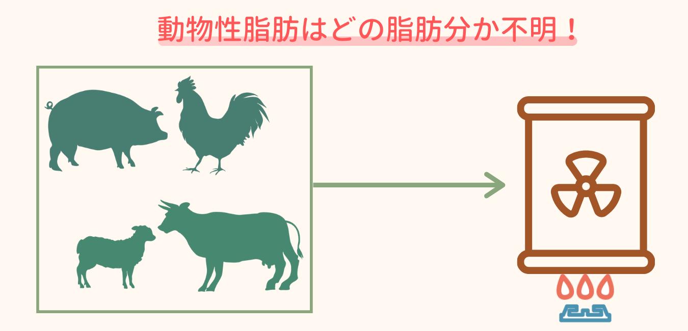 沢山の種類の動物から抽出している動物性脂肪